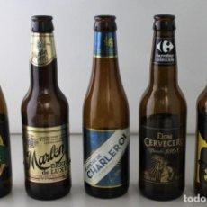 Coleccionismo de cervezas: LOTE DE 5 BOTELLAS DE CERVEZA. ESTÁN VACÍAS. Lote 145776194