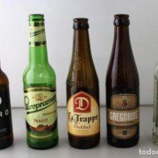 Coleccionismo de cervezas: LOTE DE 5 BOTELLAS DE CERVEZA. ESTÁN VACÍAS. Lote 145776222