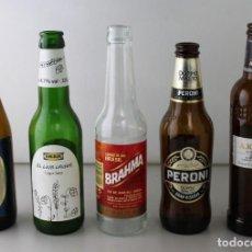 Coleccionismo de cervezas: LOTE DE 5 BOTELLAS DE CERVEZA. ESTÁN VACÍAS. Lote 145776234