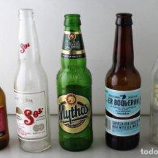 Coleccionismo de cervezas: LOTE DE 5 BOTELLAS DE CERVEZA. ESTÁN VACÍAS. Lote 145776266