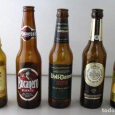 Coleccionismo de cervezas: LOTE DE 5 BOTELLAS DE CERVEZA. ESTÁN VACÍAS. Lote 145776322