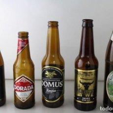 Coleccionismo de cervezas: LOTE DE 5 BOTELLAS DE CERVEZA. ESTÁN VACÍAS. Lote 145776330