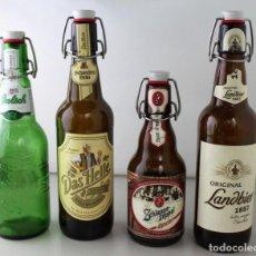 Coleccionismo de cervezas: LOTE DE 4 BOTELLAS DE CERVEZA. ESTÁN VACÍAS. Lote 162636905