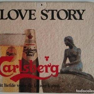 Carlsberg. Love Story. La sirenita. Antiguo posavasos de cartón. Raro y difícil de encontrar.