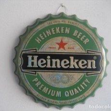 Coleccionismo de cervezas: CARTEL METAL CON FORMA DE CHAPA. CERVEZA HEINEKEN. 40 CMS. DIAMETRO. Lote 147745478