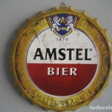 Coleccionismo de cervezas: CARTEL METAL CON FORMA DE CHAPA. CERVEZA AMSTEL. 42 CMS. DIAMETRO. Lote 147745738