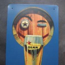 Coleccionismo de cervezas: CARTEL CHAPA CERVEZAS DAMM. Lote 147749510