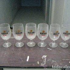 Coleccionismo de cervezas: 6 COPAS PUBLICIDAD CERVEZAS KELER DE LUXE. Lote 179173770