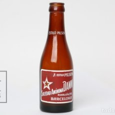Coleccionismo de cervezas: ANTIGUA BOTELLA DE CERVEZA SERIGRAFIADA - CERVEZA DAMM ESTILO PILSEN - VACIA - ALTURA 19 CM. Lote 152305505