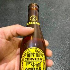 Coleccionismo de cervezas: BOTELLA ANTIGUA DE CERVEZA AMBAR, LA ZARAGOZANA 20 CL.. Lote 157943994