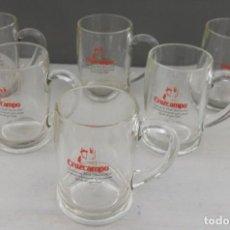 Coleccionismo de cervezas: SEIS JARRAS DE CERVEZA DE CRISTAL DE 500 ML PUBLICIDAD CERVEZ CRUZCAMPO PEFECTO ESTADO. Lote 155921166