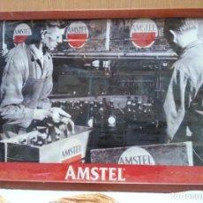 Coleccionismo de cervezas: CARTEL PUBLICITARIO AMSTEL. ACRISTALADO Y ENMARCADO.. Lote 156825694