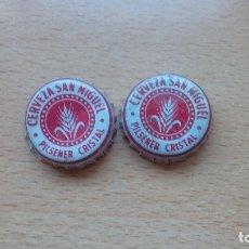 Coleccionismo de cervezas: CHAPA TAPON CORONA CERVEZAS SAN MIGUEL PILSENER CRISTAL LOTE DE 2 UDS.. Lote 98851187