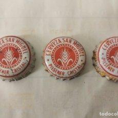 Colecionismo de cervejas: 3 CHAPAS DE CERVEZA SAN MIGUEL, FABRICANTES DIFERENTES.. Lote 147655522