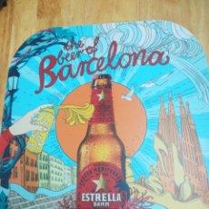 Coleccionismo de cervezas: CARTEL CERVEZA ESTRELLA DAMM-THE BEER OF BARCELONA. Lote 159195058