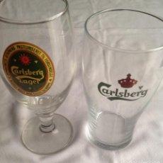 Coleccionismo de cervezas: COPA Y VASO CERVEZA CARLSBERG: COPA EDICIÓN ESPECIAL 170 Y VASO GRANDE. Lote 160601462