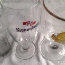 Coleccionismo de cervezas: COPAS Y VASO CERVEZA : MURPHYS CON LEYENDA, GRIMBERGEN EDICIÓN ESPECIAL Y KRONENBOURG. Lote 160602214