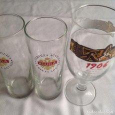 Coleccionismo de cervezas: COPA Y VASOS CERVEZAS : 1906 RESERVA ESPECIAL Y CERVEZA AGUILA. Lote 160602966