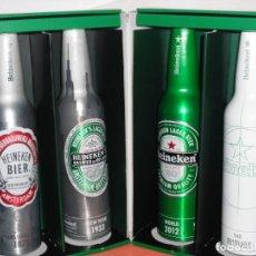 Coleccionismo de cervezas: SET COMPLETO DE BOTELLAS ALUMINIO CERVEZA HEINEKEN. Lote 161585538