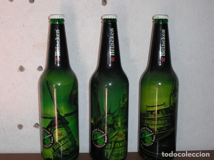 SET DE TRES BOTELLAS CERVEZA HEINEKEN DE 66 CL EDICION LIMITADA (Coleccionismo - Botellas y Bebidas - Cerveza )
