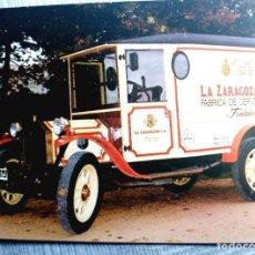 Coleccionismo de cervezas: POSTAL CERVEZA AMBAR CHAPA BOTELLA LA ZARAGOZANA PUBLICIDAD. Lote 164633742