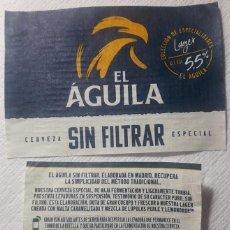 Coleccionismo de cervezas: ETIQUETA CERVEZA EL ÁGUILA SIN FILTRAR. Lote 165042590