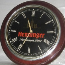 Coleccionismo de cervezas: RELOJ PARED HENNINGER. Lote 168491040