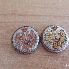 Coleccionismo de cervezas: LOTE 2 CHAPAS - TAPON CORONA CERVEZA EL AGUILA (AGUILA BICEFALA) - DIF. TONALIDAD. VER FOTOS. Lote 170487068