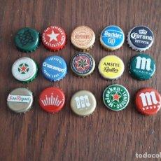 Collectionnisme de bières: LOTE DE 15 CHAPAS DE CERVEZA, MAHOU, CRUZCAMPO, ESTRELLA DAMM, ALHAMBRA, CORONA.... Lote 172363614