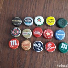 Collectionnisme de bières: LOTE DE 15 CHAPAS DE CERVEZA, CRUZCAMPO, MAHOU, ESTRELLA GALICIA, HEINEKEN, BUD, CORONA.... Lote 173165847