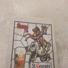 Coleccionismo de cervezas: ANTIGUO POSAVASOS CERVEZA ST GEORGES - RARO -. Lote 173247425