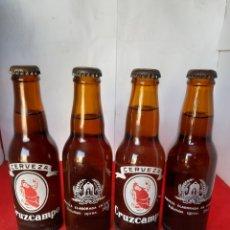 Coleccionismo de cervezas: LOTE DE CUATRO ANTIGUAS BOTELLAS DE CERVEZA CRUZCAMPO LLENAS SIN DESTAPAR CON SU CHAPA DE 20 CC. Lote 173408145