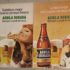 Coleccionismo de cervezas: LOTE 2 ANUNCIOS AGUILA DORADA. Lote 173799309