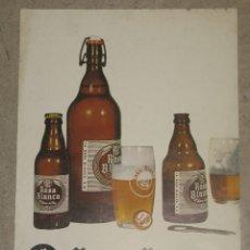 Coleccionismo de cervezas: ANTIGUO CARTEL ROSA BLANCA. Lote 173800277