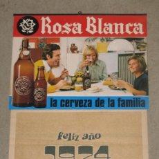 Coleccionismo de cervezas: CALENDARIO PARED ROSA BLANCA 1974. Lote 173801249