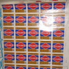 Coleccionismo de cervezas: PLANCHA DE 35 ETIQUETAS CERVEZA PILSEN . Lote 173803457