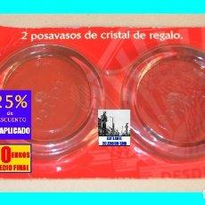 Coleccionismo de cervezas: CERVEZA DORADA CCC - JUEGO DE DOS POSAVASOS DE CRISTAL MOLDEADO - A ESTRENAR - RAROS - 30 EUROS. Lote 174027330