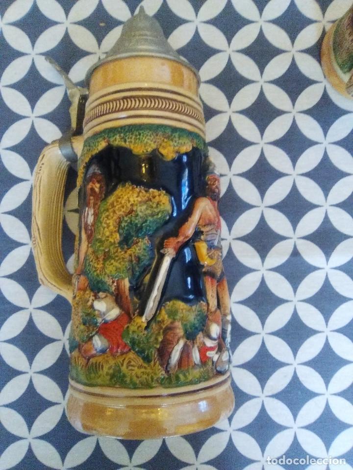 JARRA PARA CERVEZA TIPO ALEMANA CON TAPA (Coleccionismo - Botellas y Bebidas - Cerveza )