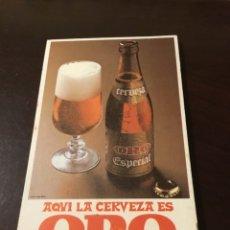 Coleccionismo de cervezas: ANTIGUO CERVEZA ORO AQUI LA CERVEZA ES ORO BLOCK DE NOTAS. Lote 177677235