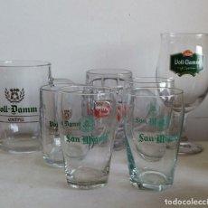 Coleccionismo de cervezas: LOTE JARRAS, COPA Y VASOS CERVEZA SAN MIGUEL, VOLL DAMM Y ESTRELLA. . Lote 178183732