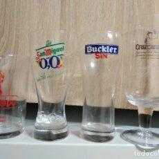 Coleccionismo de cervezas: LOTE COPA VASOS SAN MIGUEL - CRUZCAMPO - BUCKLER. Lote 179340111