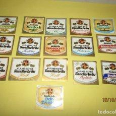 Coleccionismo de cervezas: ANTIGUO LOTE DE 16 ETIQUETAS DIFERENTES DE BOTELLAS DE CERVEZA. Lote 179535456