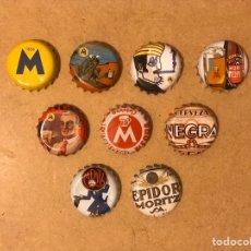 Coleccionismo de cervezas: JUEGO DE CHAPAS TAPON CORONA PUBLICIDAD CERVEZA MORITZ BARCELONA. Lote 180108302