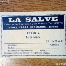 Coleccionismo de cervezas: RECIBO / NOTA ENTREGA / ETIQUETA LA SALVE FÁBRICA DE CERVEZAS Y HIELO, PÉREZ YARZA HERMANOS, BILBAO. Lote 180204867
