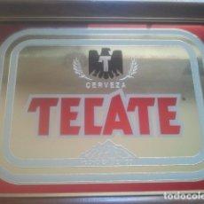 Coleccionismo de cervezas: CERVEZA MEJICANA - TECATE - MÉXICO - ANTIGUO CARTEL / ESPEJO PUBLICITARIO - ENMARCADO DE ORIGEN. Lote 180345677