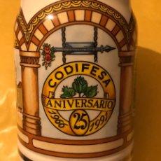 Coleccionismo de cervezas: JARRA CERVEZA ESTILO ALEMANA EMPRESA FRÍO INDUSTRIAL CODIFESA 25 ANIVERSARIO 1966-1991 CERÁMICA. Lote 180435078