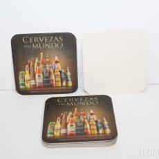 Coleccionismo de cervezas: 9 POSAVASOS DE CERVEZA CERVEZAS DEL MUNDO DE CARTON DURO. Lote 181103533