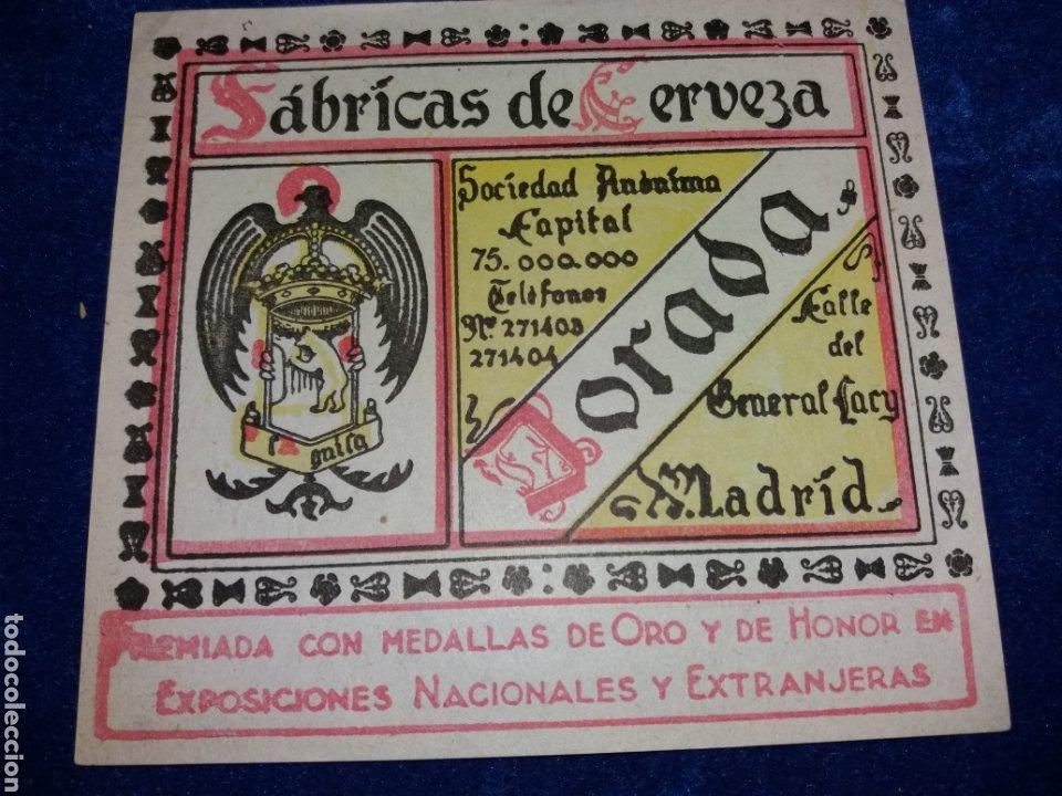ETIQUETA CERVEZA EL AGUILA DORADA MADRID PERFECTA (Coleccionismo - Botellas y Bebidas - Cerveza )