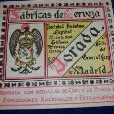 Coleccionismo de cervezas: ETIQUETA CERVEZA EL AGUILA DORADA MADRID PERFECTA. Lote 182915132