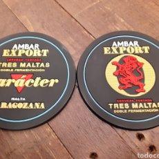Coleccionismo de cervezas: AMBAR EXPORT - ESPECTACULAR 2 POSAVASOS DE GOMA. Lote 182957465
